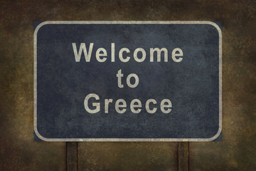 Welcome to Greece roadside sign illustration