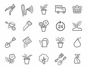 Gardening, icon, line, monochrome.