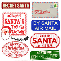 Set of isolated Christmas stamps and labels