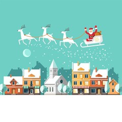 Santa Claus on sleigh and his reindeers. Winter town. Urban winter landscape. Christmas card. Vector illustration, flat style.