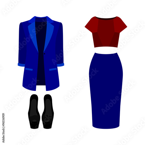 5e1583ff27d1e Set of trendy women's clothes. Outfit of woman jacket, skirt, blouse and  accessories. Women's wardrobe. Vector illustration