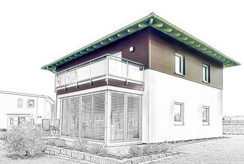 Moderne Hausfassade - Skizze / Entwurf