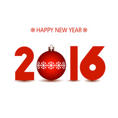 New Year 2016 red numbers on a white background