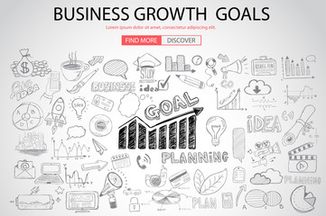 Business Growth Goals concet with Doodle design style