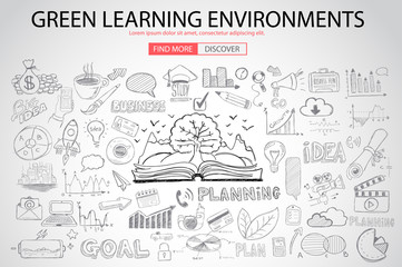 Green Learning Environment with Doodle design style