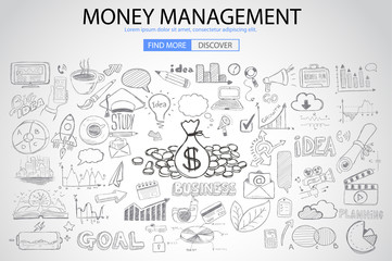 Money Management concept with Doodle design style