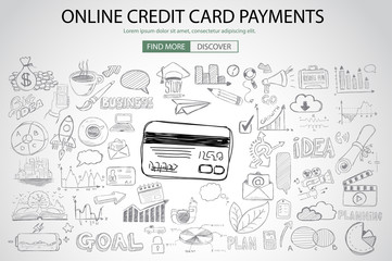 Online credit card payment concept with Doodle design style