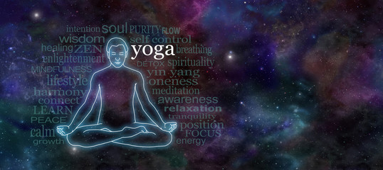 Yoga Meditation Website Header - Wide deep space night sky banner with a glowing male silhouette outline in lotus position on the left surrounded by a word cloud and plenty of copy space on right