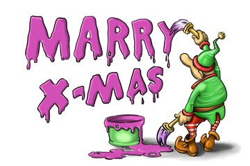 Little green Christmas elf drawing Merry Christmas inscription on a white background using purple paint