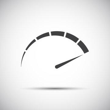 Simple vector tachometer,  speedometer icon, performance measurement symbol