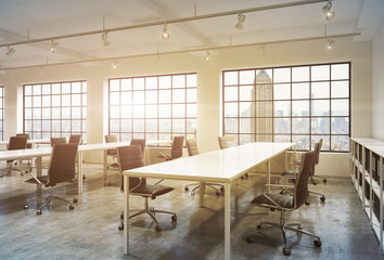 Workplaces in a bright sunset loft open space office. Empty tables and docents' book shelves. New York panoramic view. A concept of a high quality consulting services. Toned image. 3D rendering.