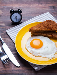 Fried egg and bread on the yellow plate