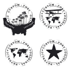 four seals mark with palms plane and world map