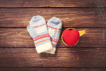 heart shape toy and mittens