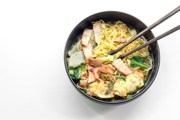 red pork noodle and wood shopstick