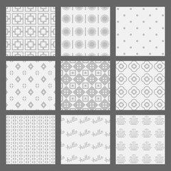 White and gray geometrical and Art Deco patterns set