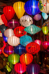 Paper lanterns on the streets of old Asian  town