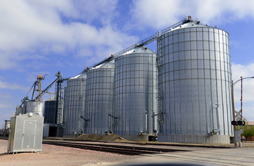 Steel grain silo on farm