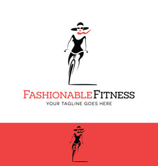 stylized fashionable girl riding a bicycle. logo for fashion or fitness related business, website