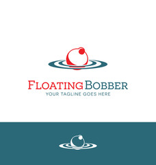 red and white bobber logo for fishing related business or website