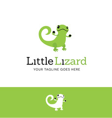 Cute green lizard. Logo concept for business or website