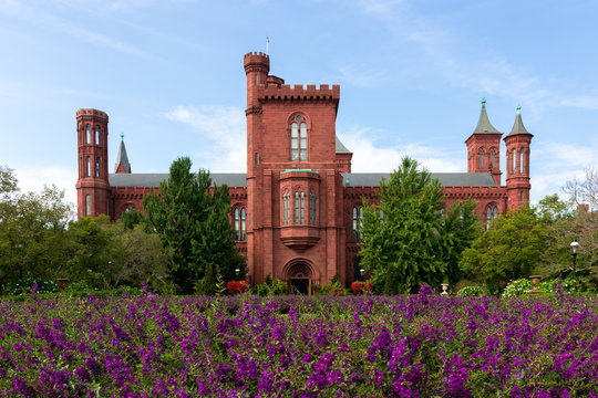 The Smithsonian Castle South Lawn close to the flowers