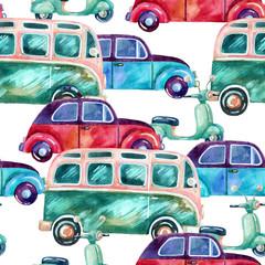 Watercolor hippie camper van, car and scooter