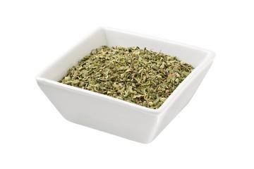 bowl of green tea leaves