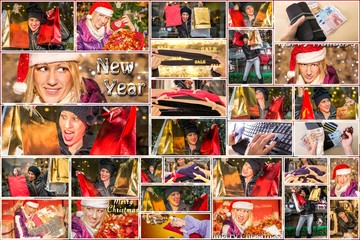 Christmas shopping collage