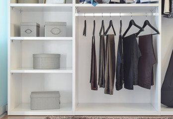 modern closet with row of pants hanging in white wardrobe