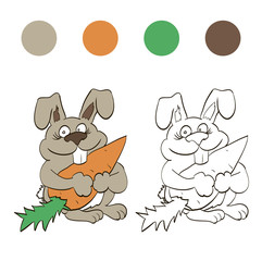 Coloring rabbit with carrot for children