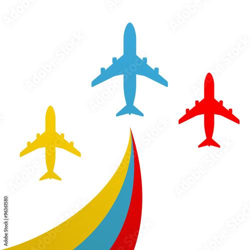 Icono plano avion en varios colores #8\