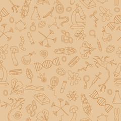 Seamless background with hand drawn icons on the theme of biology,sepia