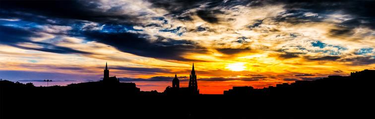 Beautiful sunset over Prague, St.Vitus Cathedral.