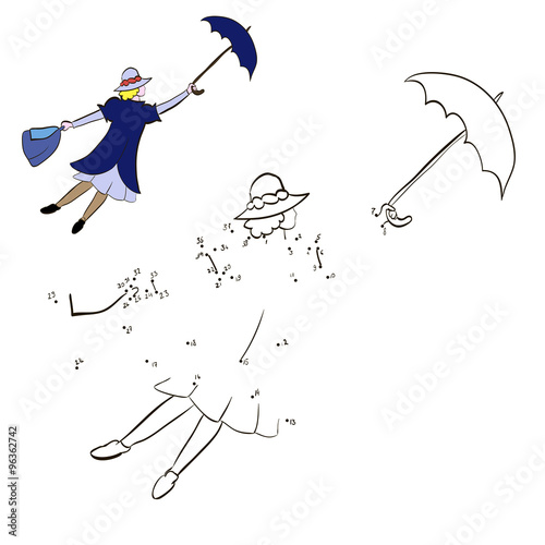 Coloring Mary Poppins flying with an umbrella