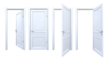 Collection of isolated white doors