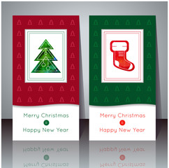 Vector illustration. Christmas and New Year greeting card. Winter cards with Christmas tree and Christmas sock. Holiday design. Party poster, greeting card, banner or invitation.