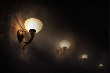 lights glowing in the dark wall in grunge style