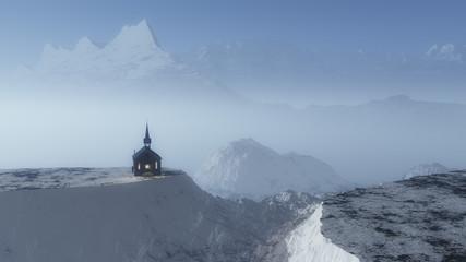 Chapel on hill in foggy mountain winter landscape.