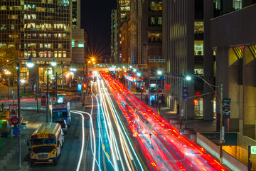 Night view of the traffic in Toronto