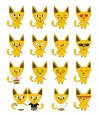 Set of yellow funny cats - vector emotions