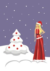Illustration Beautiful sexy blonde girl in a red Christmas card - Vector