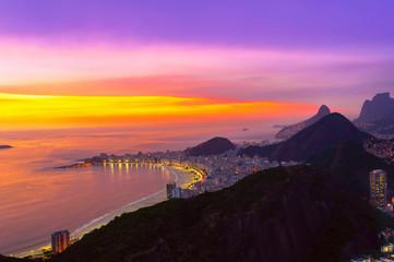 Night view of Copacabana beach in Rio de Janeiro. Brazil