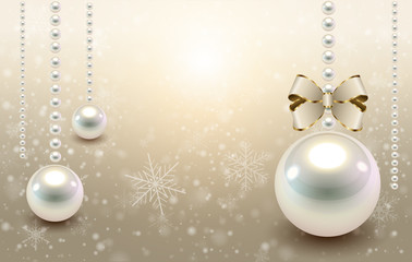 Christmas background beige with glossy balls and snowflakes