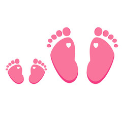 Pink baby and adult footprint