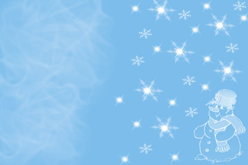 Festive image of snowman and lights on blurred blue background