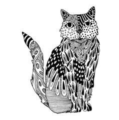 Vector Zentangle Cat