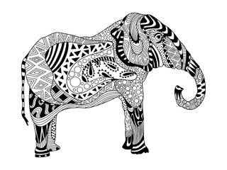 Vector Zentangle Elephant