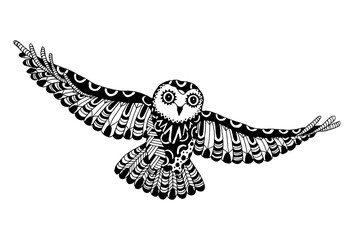 Vector Zentangle Flying Owl