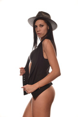 woman in black lingerie and a gray hat